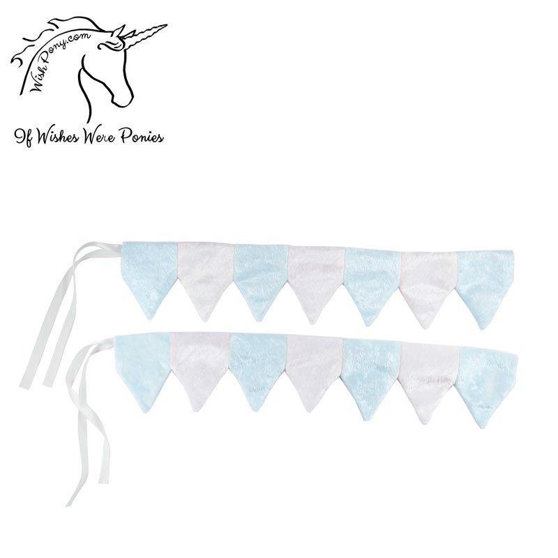 Blue & White Horse Barding Rein Covers